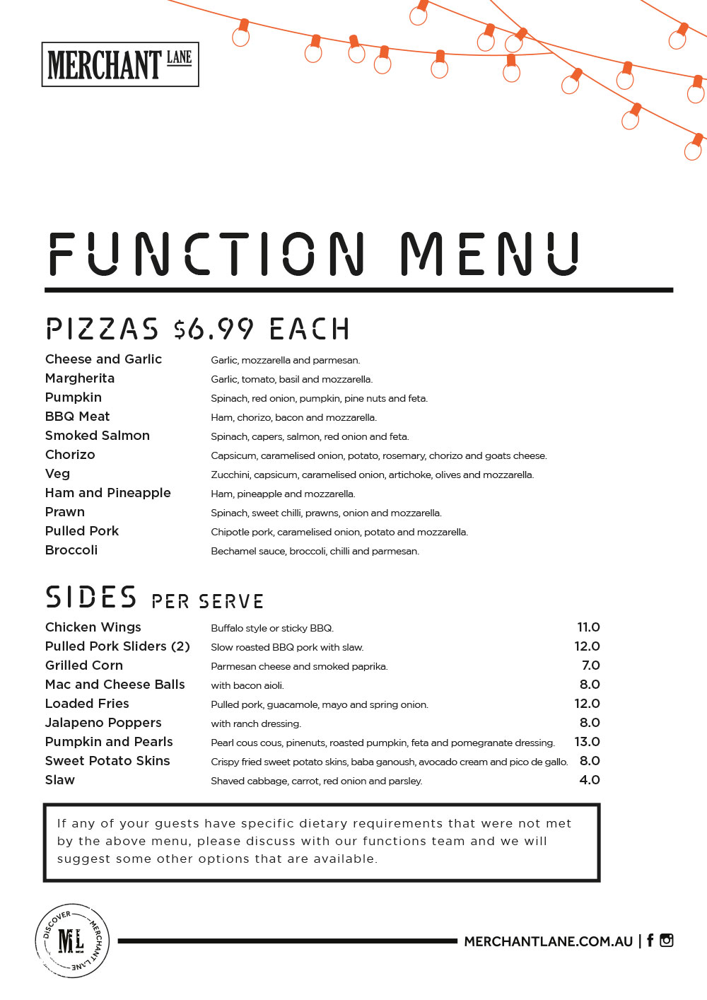 Merchant Lane Pizza Function Menu